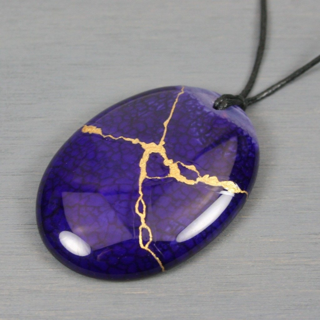 Kintsugi repaired dark purple dragon veins agate pendant on black cotton cord