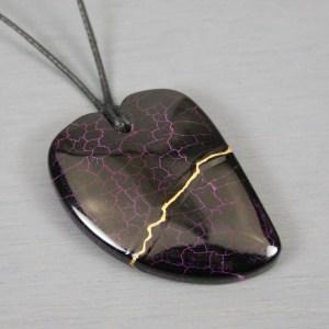 Black dragon veins agate kintsugi heart pendant on black cotton cord