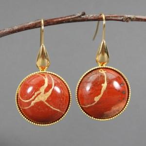 Red jasper kintsugi earrings on gold plated ear wires