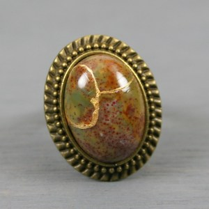 Fancy jasper kintsugi ring in an antiqued brass adjustable setting