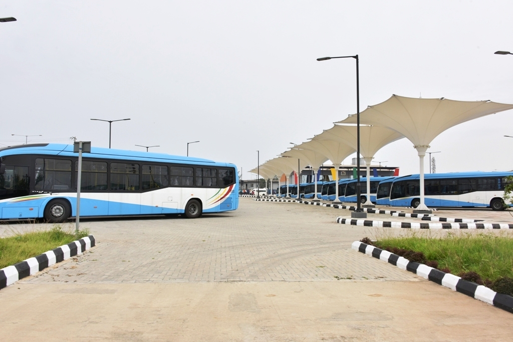 Some of the newly acquired buses at the Ikeja Bus Terminal as part of the Bus Reform Initiative of the Lagos State Government