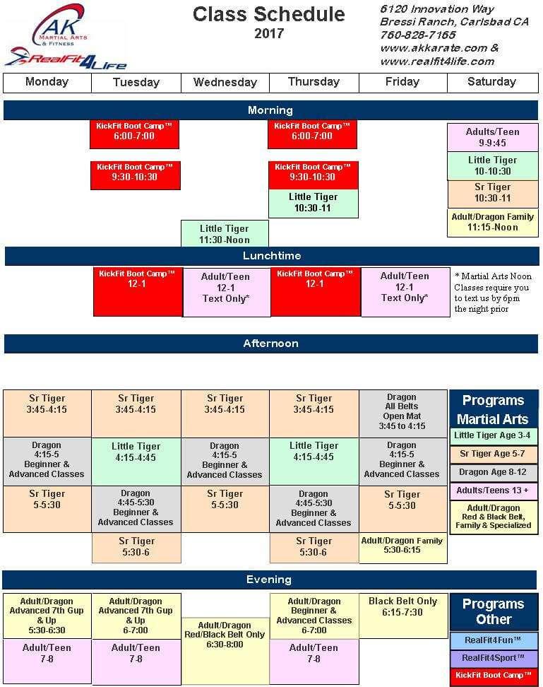 Class Schedule AK Martial Arts Fitness – Class Schedule