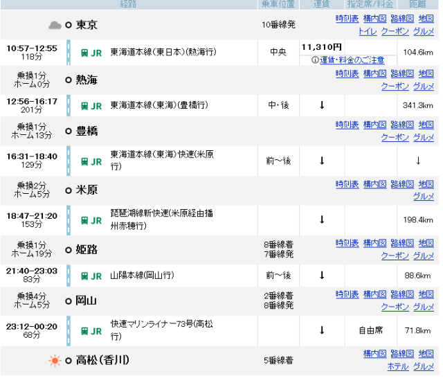 69848357bdaef183ec4572979e74ca22 - 青春18きっぷで東京から四国へ行くには?