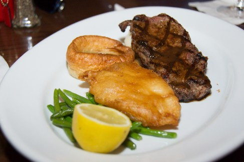 Grilled New York Strip Steak and Fried Fish from the Rose and Crown Pub