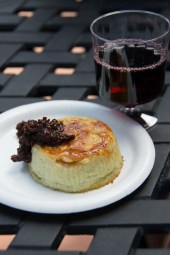 Almond crusted Blue cheese Souffle with fig jam from the Cheese Marketplace