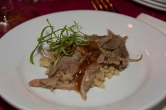 Tunisian Roast Pheasant, Pine Nut-Raisin Pilaf, and Quince Jus