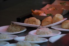 Steamed Rice and Pao de Queijo