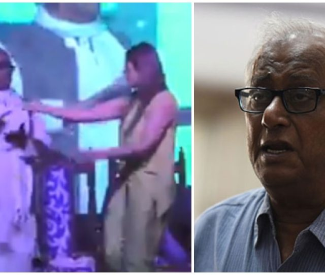Tmc Mp Saugata Roy Grooves With Bollywood Star Raveena Tandon