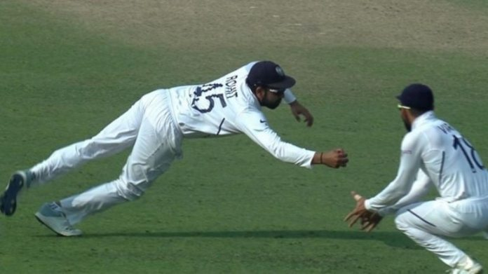 Rohit Sharma took a flying catch to remove Bangladesh skipper. (Courtesy by BCCI)