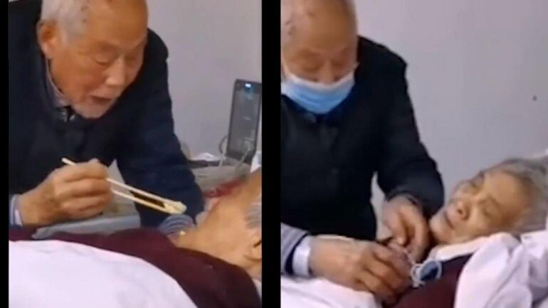 87-year-old Chinese man takes care of coronavirus-infected wife in ...