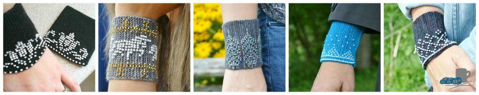 Beaded Wristers Collection www.aknitica.com by Amanda Schwabe #wristers #beads #stashbuster