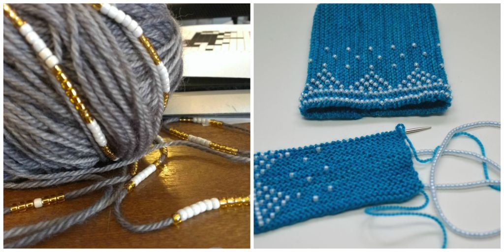 Pre-strung beads for knitting beaded wristers. www.aknitica.com #knitting #beads #shiny