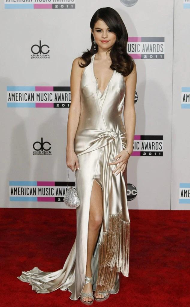 Selena Gomez Sparky Gold Backless Prom Dress 2011