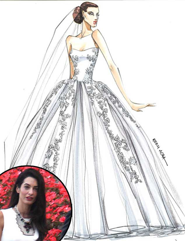 See Designer Sketches of Amal Alamuddin's Dream Wedding