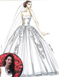 See Designer Sketches of Amal Alamuddin's Dream Wedding ...