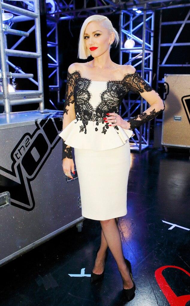 Pop of Peplum from Gwen Stefanis The Voice Looks  E News