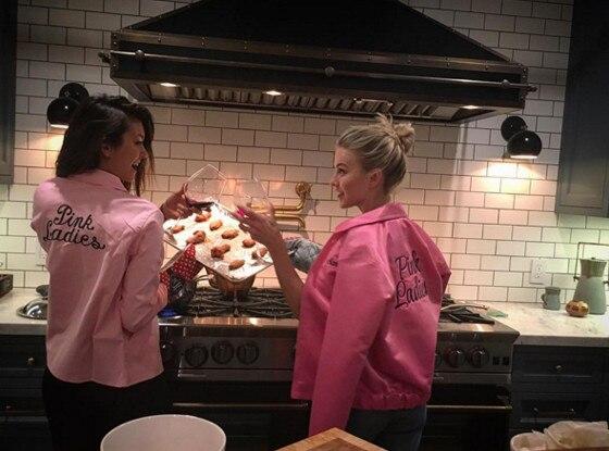 Julianne Hough Makes Nina Dobrev a Pink Lady During Girls