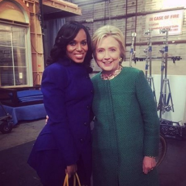Image result for hillary clinton on scandal set