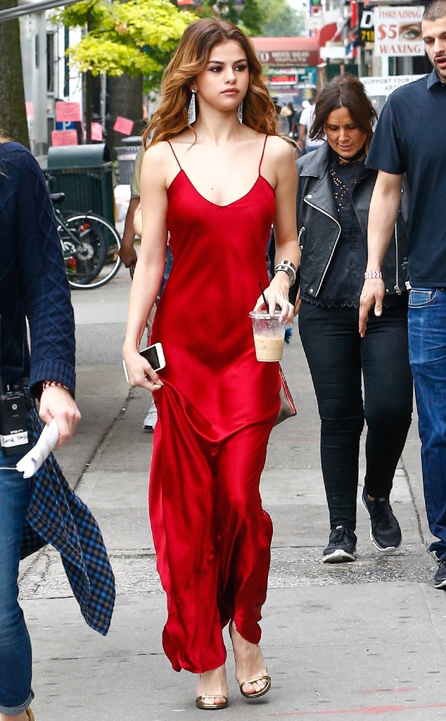 Selena Gomez Casual Red Satin Spaghetti Strap Long prom dress