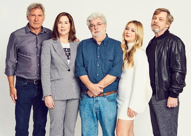 Harrison Ford, Kathleen Kennedy, George Lucas, Billie Lourd, Mark Hamill, Star Wars Celebration