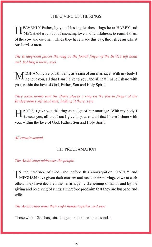 Royal Wedding, Order of Service, Prince Harry, Meghan Markle