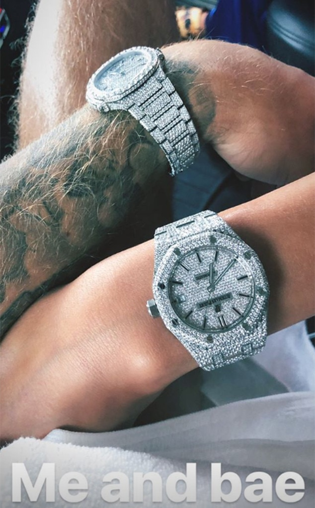 Justin Bieber and Hailey Baldwin Wear His and Hers Diamond Watches After Engagement  E News