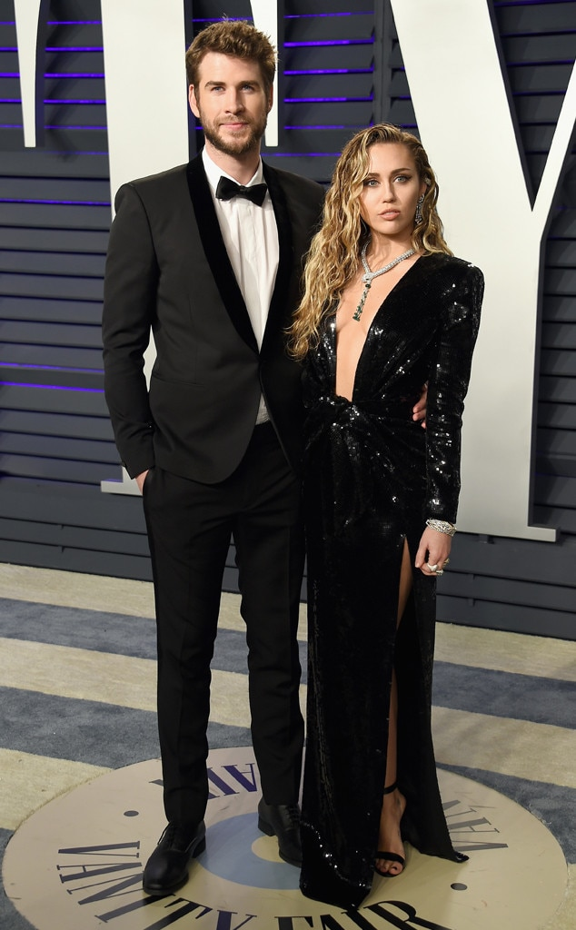 Miley Cyrus, Liam Hemsworth, 2019 Vanity Fair Oscar Party, 2019 Oscars