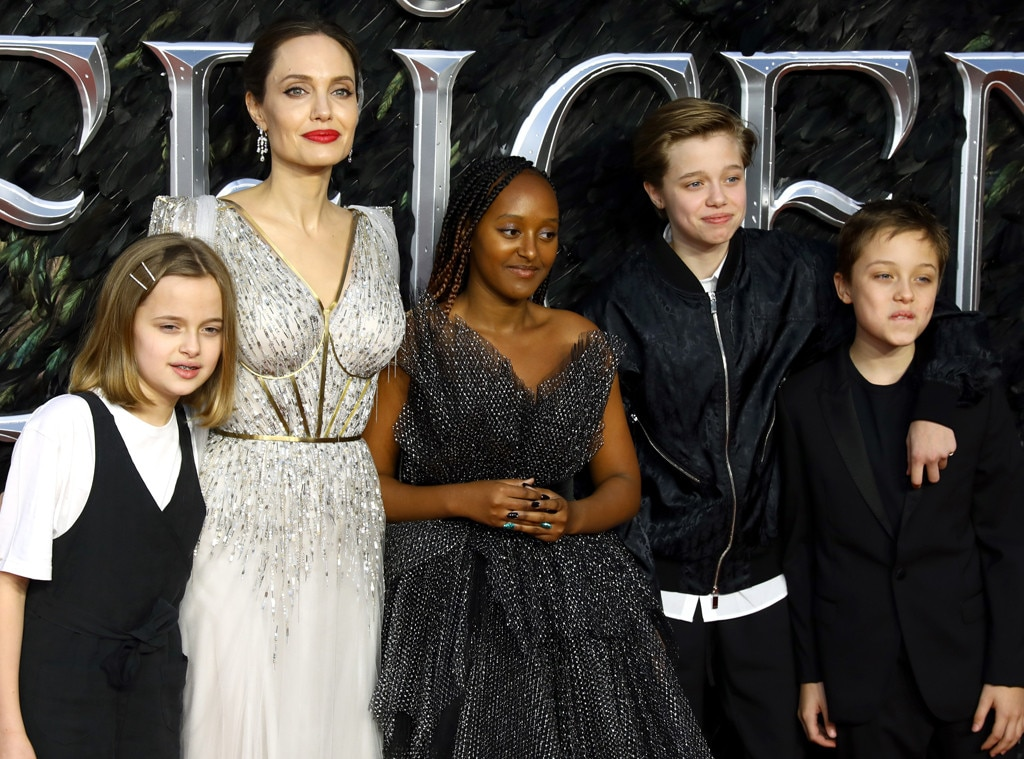 Angelina Jolie, Vivienne Marcheline Jolie-Pitt, Zahara Marley Jolie-Pitt, Shiloh Nouvel Jolie-Pitt and Knox Jolie-Pitt