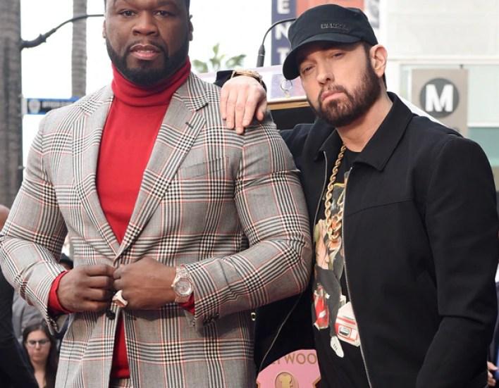 Eminem Makes Rare Public Appearance at 50 Cent's Star Ceremony   E ...