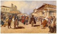 Ulica Cara Dušana, slika austrijskog slikara Karla Gebela, 1860-tihUlica Cara Dušana, slika austrijskog slikara Karla Gebela, 1860-tih