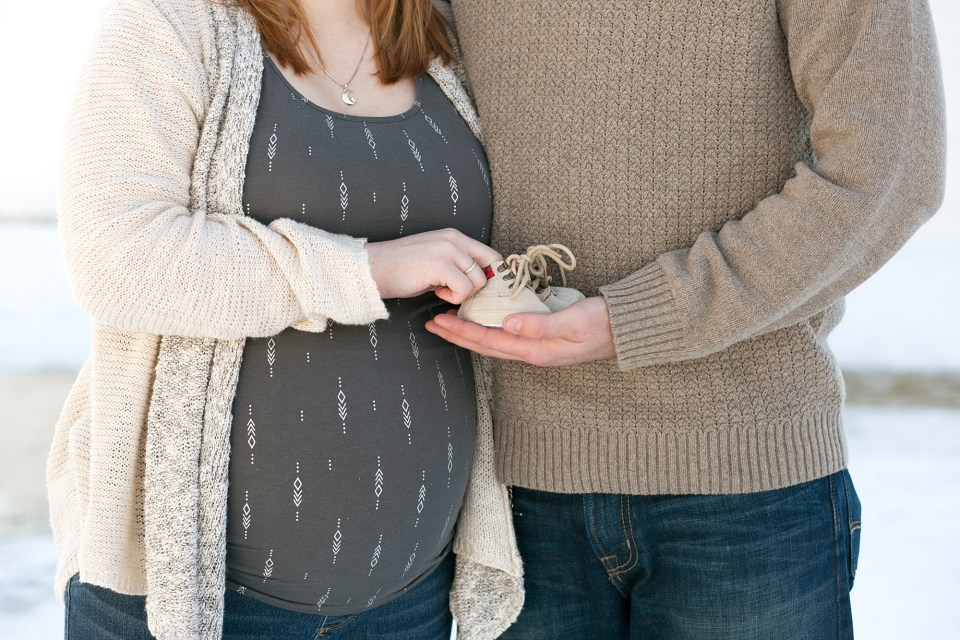 Maternity Photos with Baby Shoes