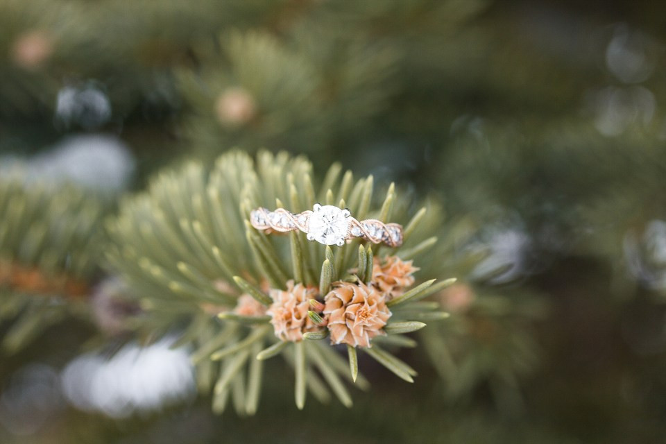 Rose gold engagement ring in snowy pine tree