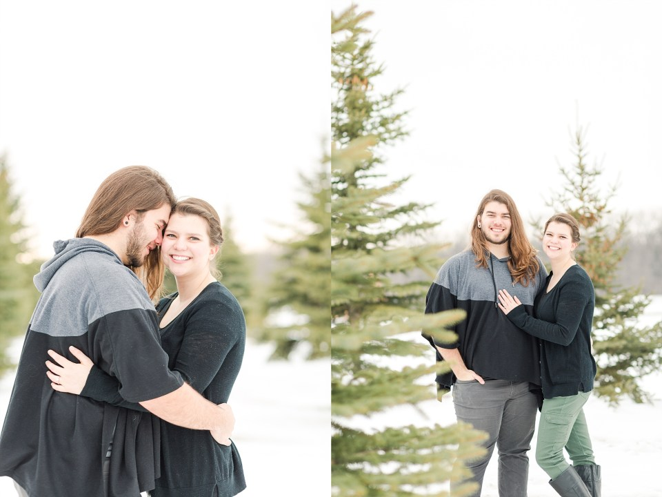 Engagement Photos in winter pine trees with snow