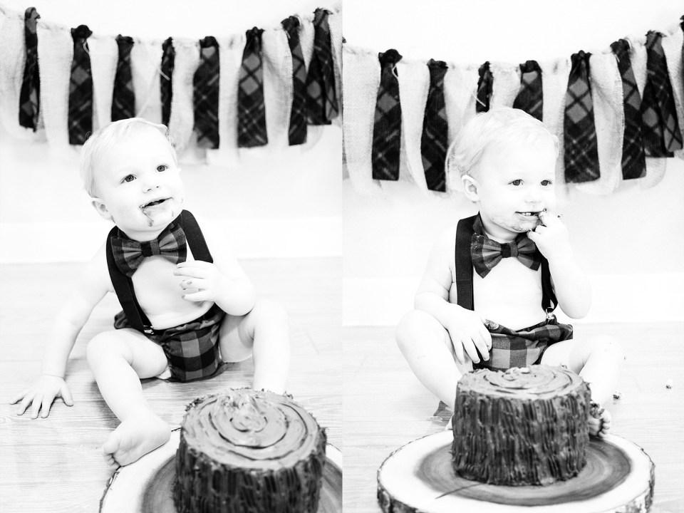 Black and white lumber jack cake smash