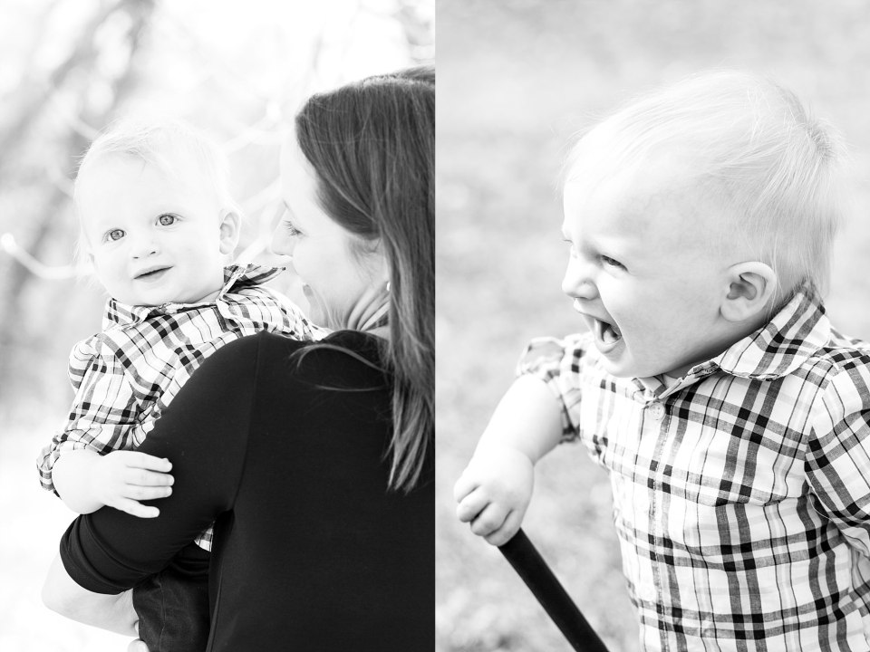 A mom holds her little boy during his First Birthday photo session