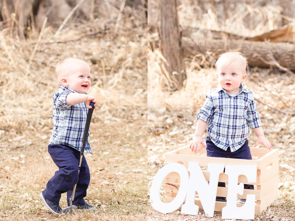 A boy in blue plaid plays in a park with a golf club during his First Birthday pictures