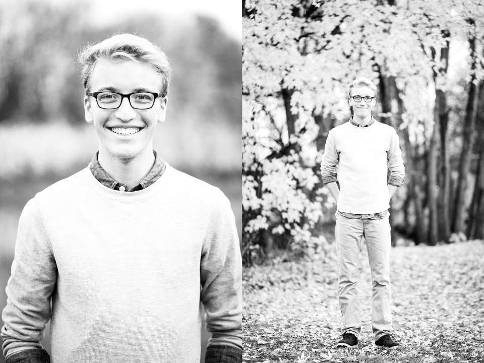 High School Senior along the Red River and yellow fall leaves in Fargo, ND