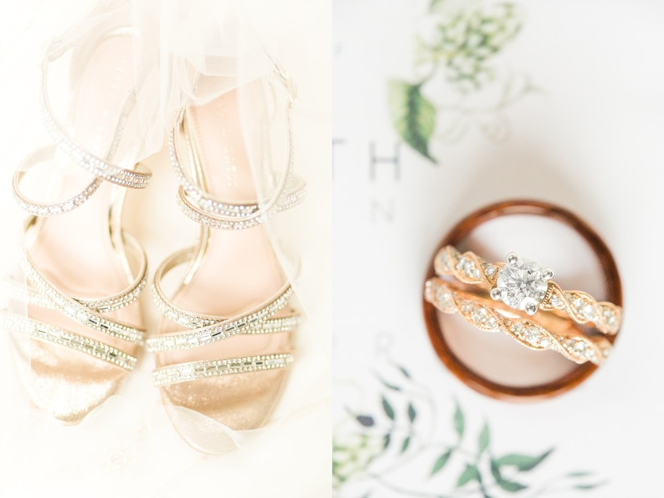 Rose Gold Wedding Details with hints of green