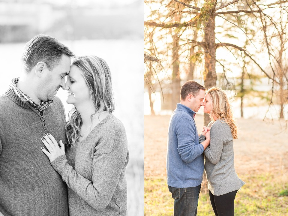 An engaged couple in grey and blues hold hands in Lions Conservancy Park for their engagement photos