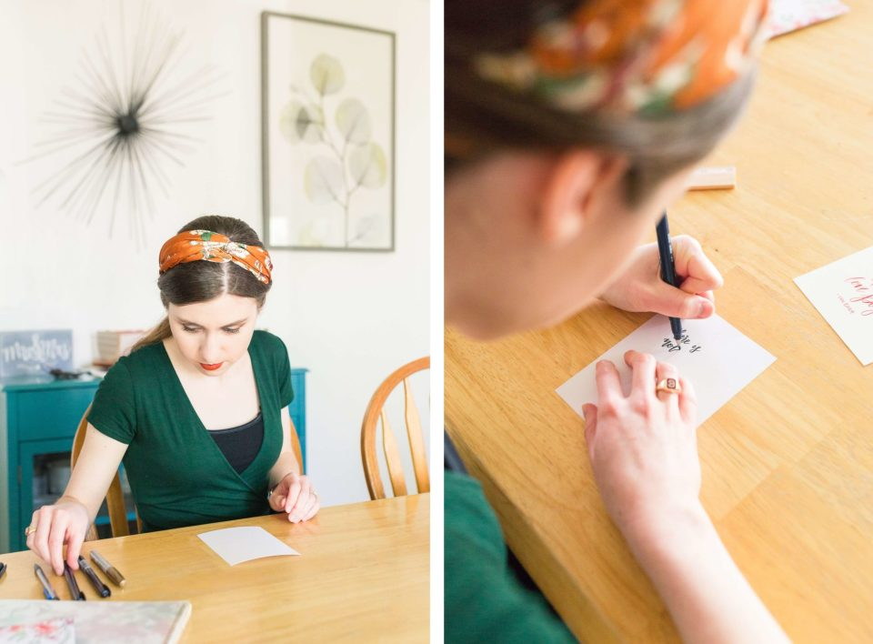 Tayler of Taylily Lettering picks out a pen for a greeting card