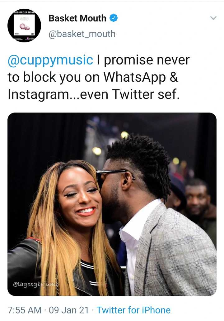 I will never block you on WhatsApp Instagram & Twitter - Basketmouth assures DJ Cuppy