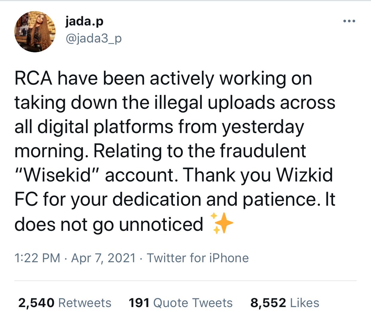 Wisekid Wizkid Scam: Jada Pollock reacts after being slammed