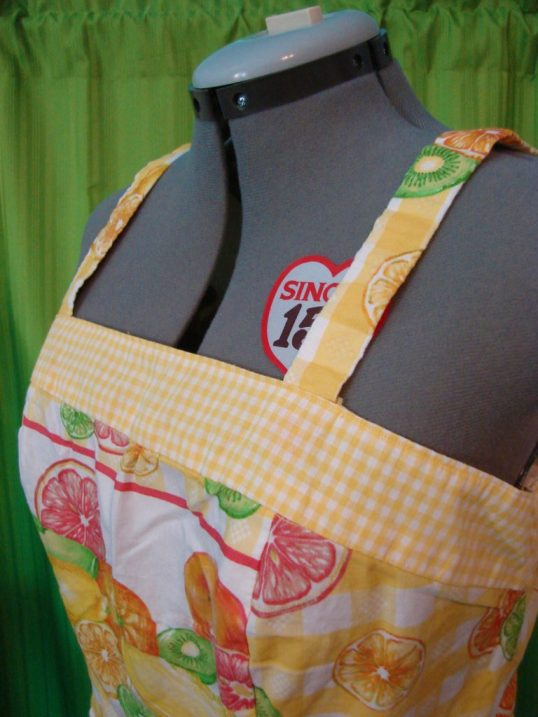 Accent yellow check on bodice top