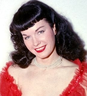 Pinup girl Bettie Page, famous for her bangs