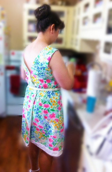 Back view of wrap dress