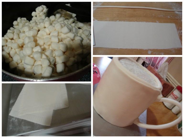Marshmallow fondant, used to cover the coffee mug and doughnut.
