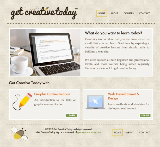 Get Creative Today website built using HTML5 and CSS 3