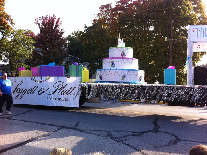 Leggett and Platt had an anniversary float in the Parade