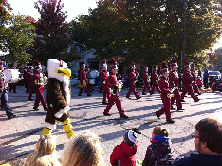 Another marching band along with their mascott