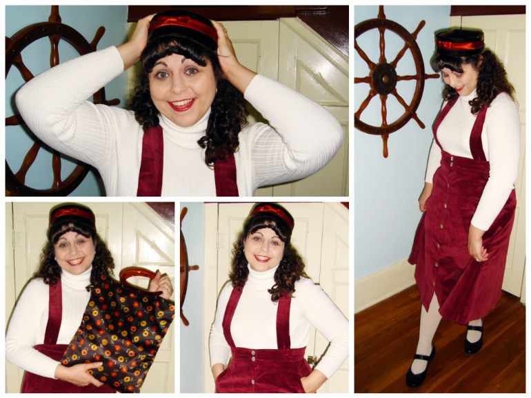 Posing in my Dirndl Skirt, with my vintage accessories